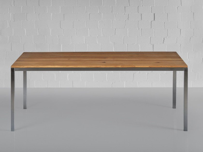 Stainless steel and wood table NOJUS by Vitamin Design