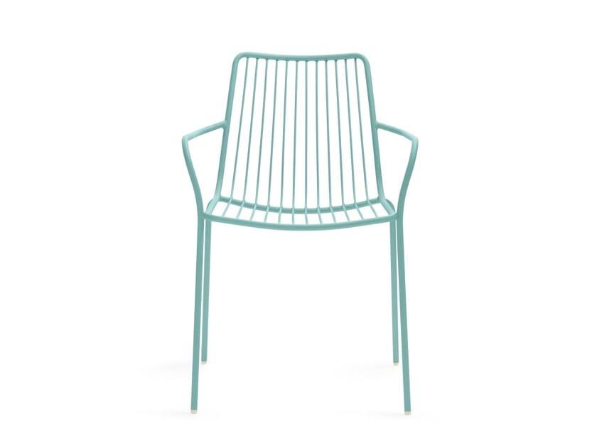 Metal garden chair with armrests NOLITA 3656 by PEDRALI