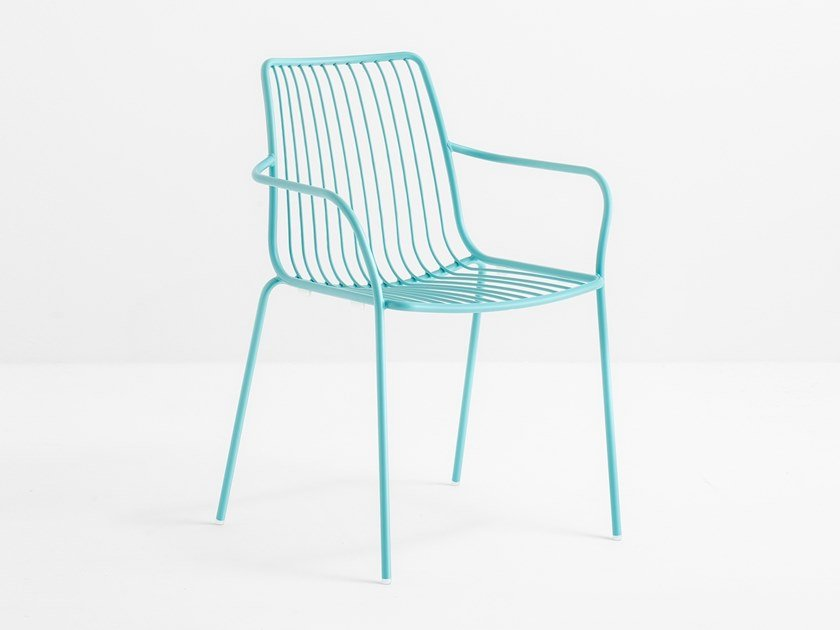 Metal garden chair with armrests NOLITA 3656 by Pedrali