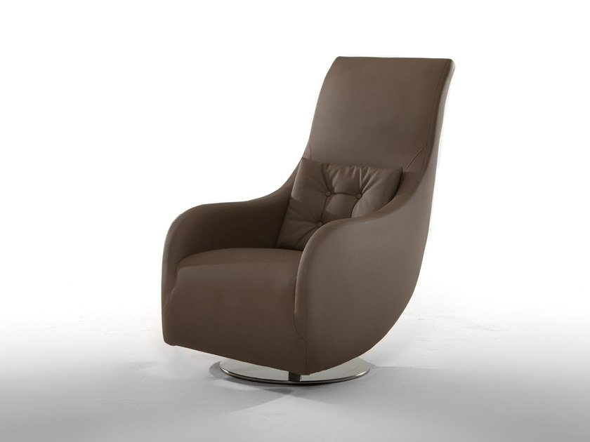 Upholstered leather armchair with armrests NOLITA by Tonin Casa