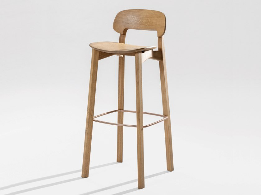 Solid wood barstool with footrest NONOTO BAR by ZEITRAUM