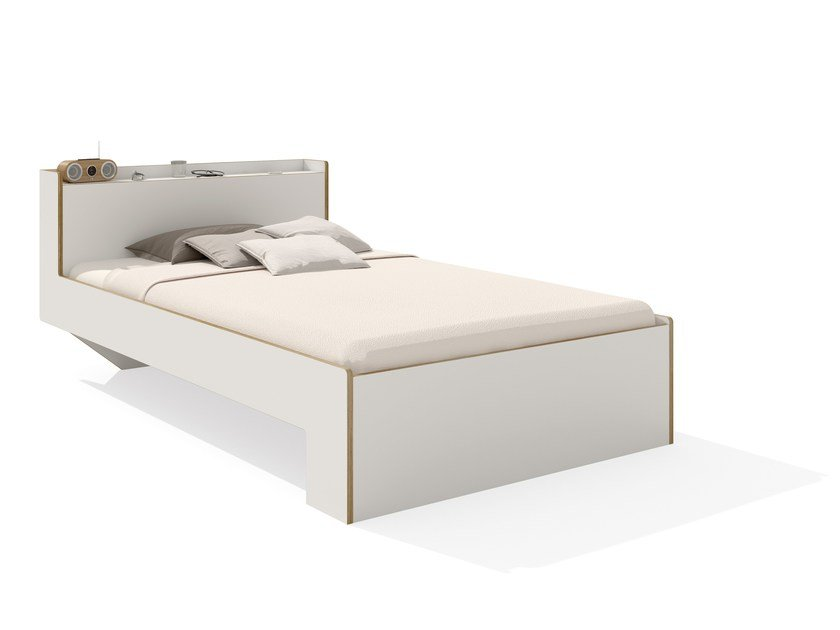 Wooden bed with storage headboard NOOK SINGLE BED By Müller ...