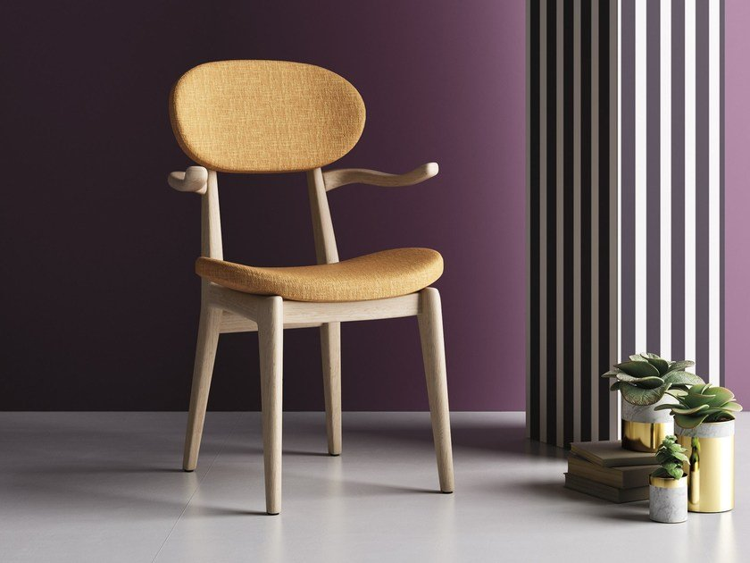 Solid wood reception chair with armrests NORDICA P by Imperial Line