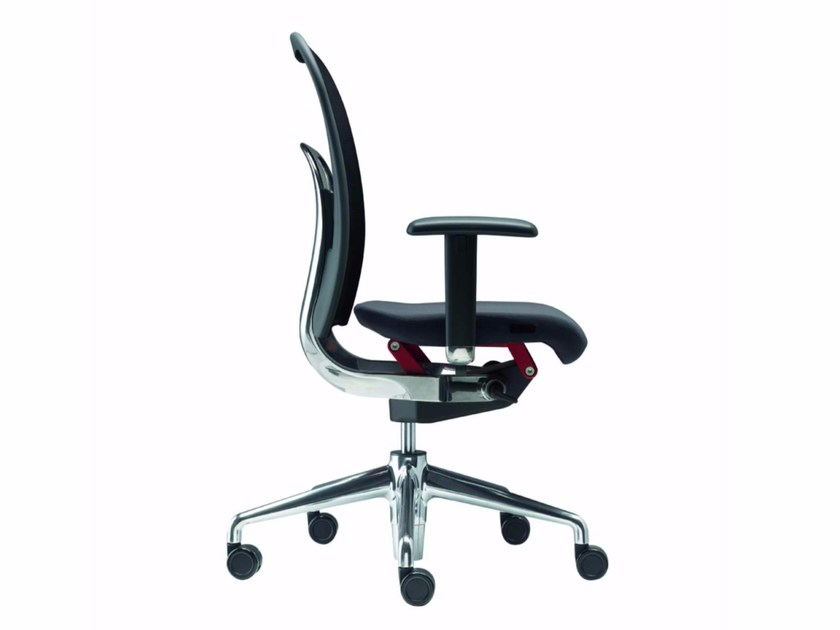 Height-adjustable swivel task chair with armrests NORMA - 381 by Alias