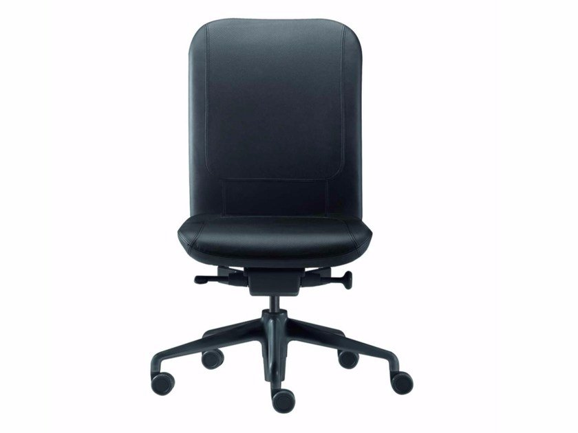 Height-adjustable leather task chair with 5-Spoke base with casters NORMA LEATHER - 380_L by Alias