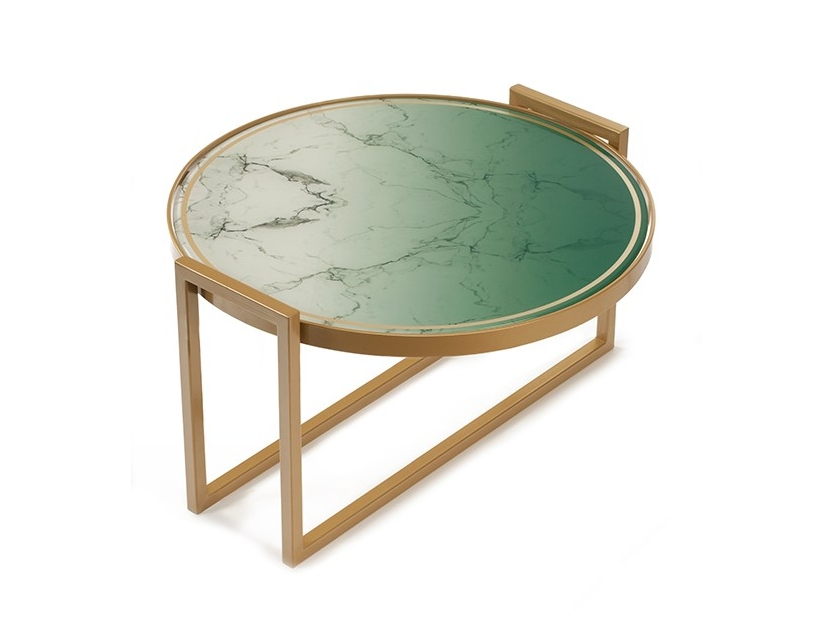 Round decorated glass coffee table NORMAN by Mambo Unlimited Ideas