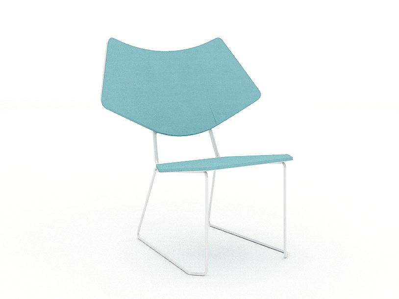 Sled base fabric chair NORN by Tuna Ofis