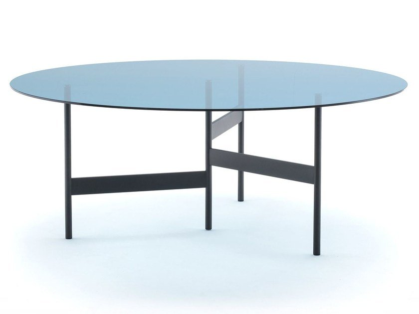 Round glass and steel table NOTES by Living Divani