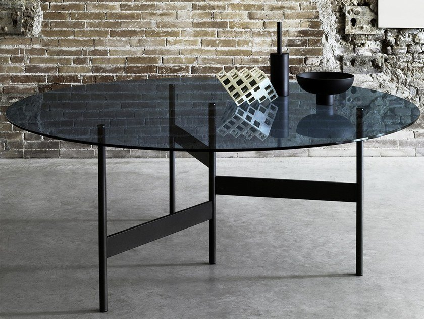 Round glass and steel table NOTES | Round table by Living Divani