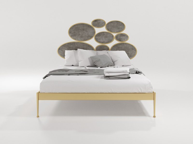 Double bed with upholstered headboard NOTTURNO by Barel