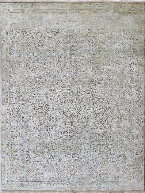 Patterned handmade rug NOUVEAU ORIENT NAGARE BEIGE IVORY by EBRU