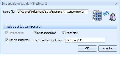 NOVA CONDOMINIO Importazione dati da Millesimus