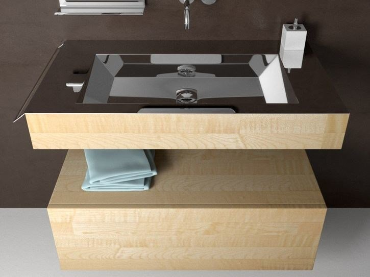Wall-mounted stainless steel and wood washbasin NOVANTA BOX by Componendo