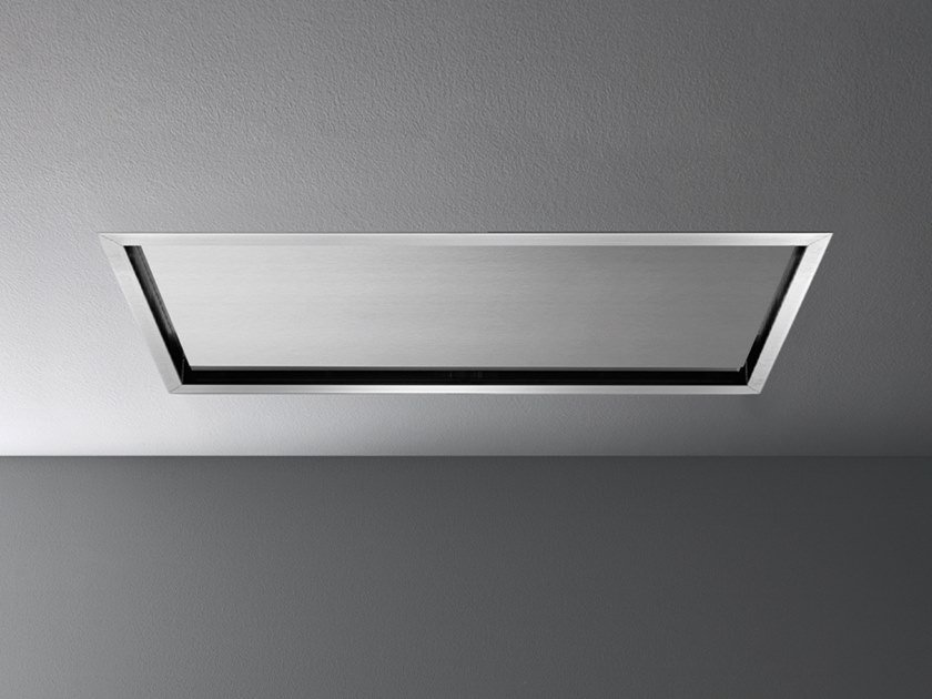 Ceiling-mounted stainless steel cooker hood with perimetral aspiration NUBE by Falmec