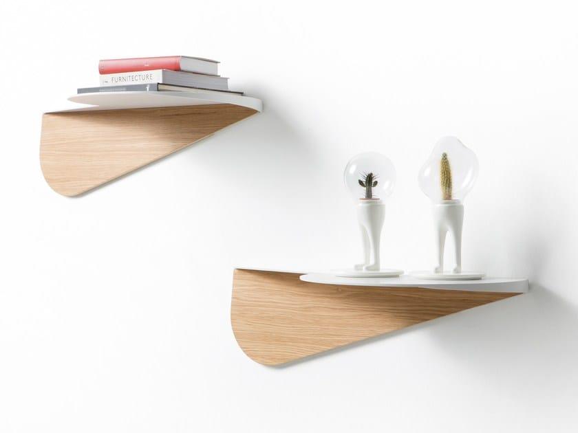 Steel and wood wall shelf NUBILA by B-LINE
