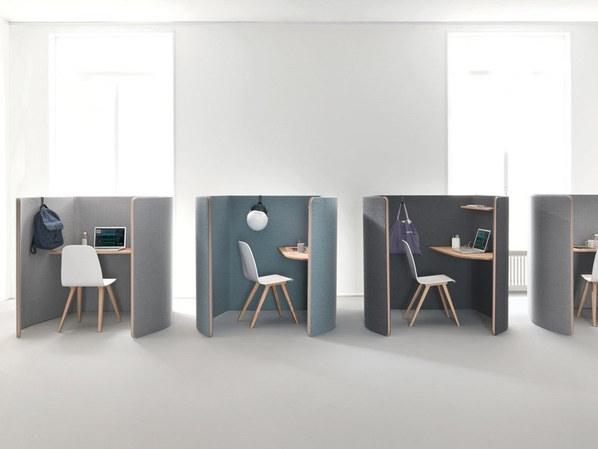 Individual office workstation with sound absorbing screens NUCLEO | Office workstation by Martex