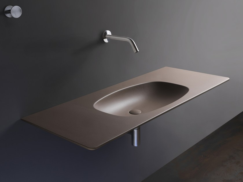 Rectangular ceramic washbasin with integrated countertop NUDAFlat by CERAMICA FLAMINIA