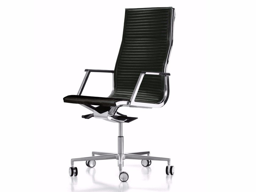 Height-adjustable leather executive chair with 5-spoke base with casters NULITE | Executive chair by Luxy