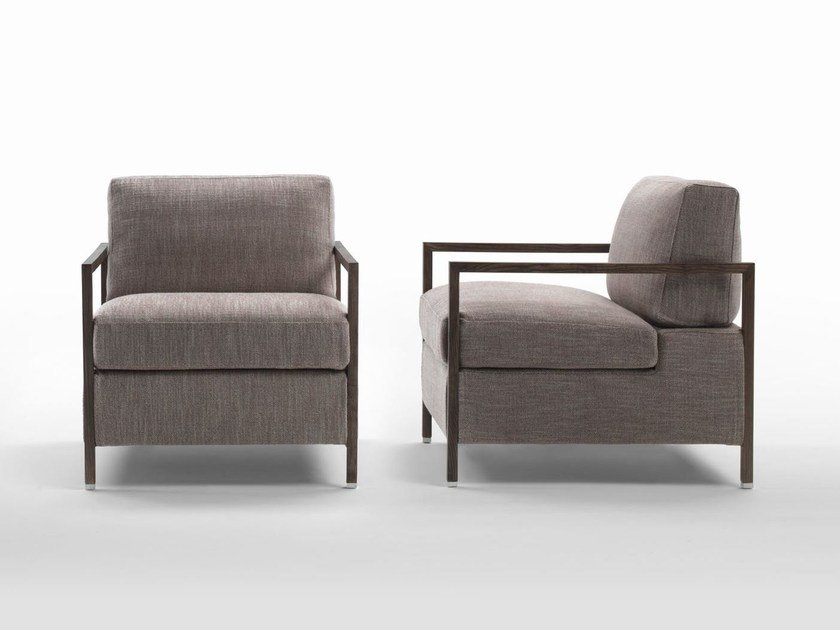 Fabric armchair with removable cover with armrests NUMA by Marac