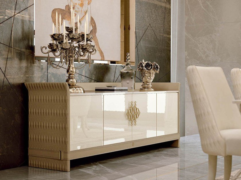 Lacquered wooden sideboard with doors NUMERO TRE | Sideboard by Turri