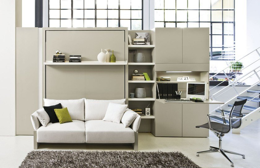 Storage wall with fold away bed nuovoliol 10 by clei for Parete attrezzata con divano
