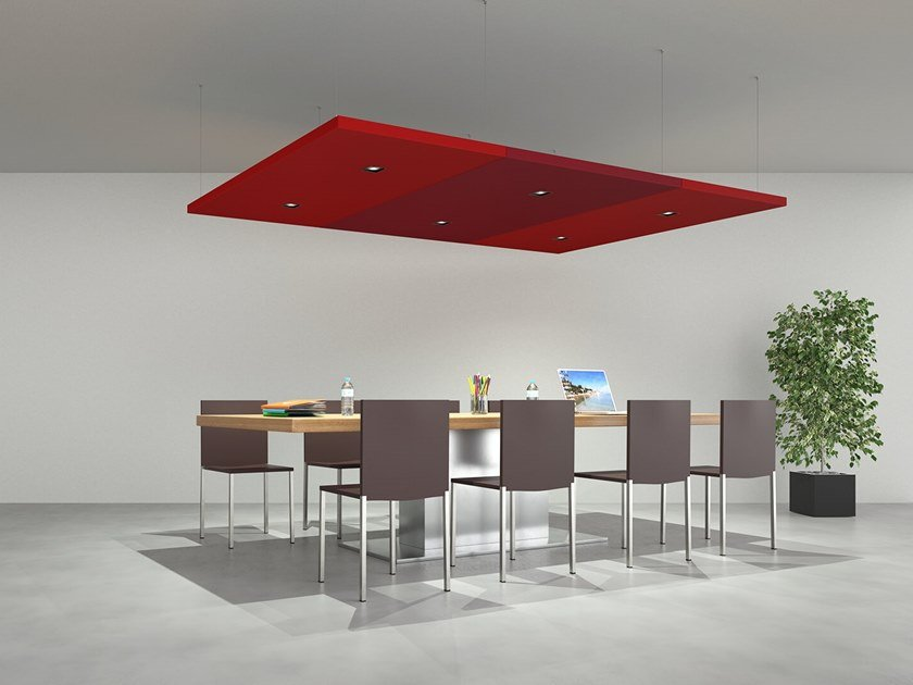 Group of sound-absorbing ceiling panels NUVOLA | Hanging acoustic panel by Caruso Acoustic