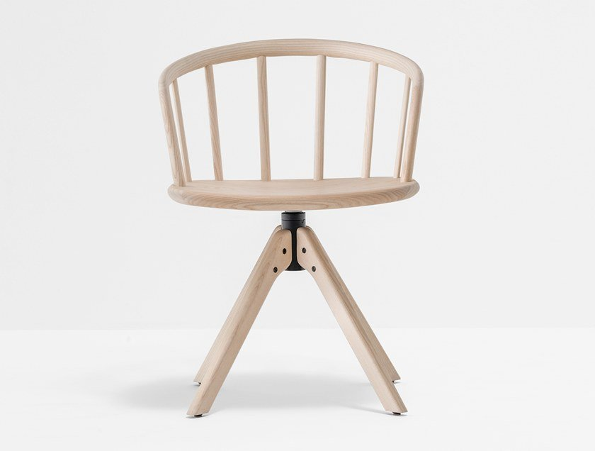 Swivel trestle-based ash chair NYM 2845 by PEDRALI