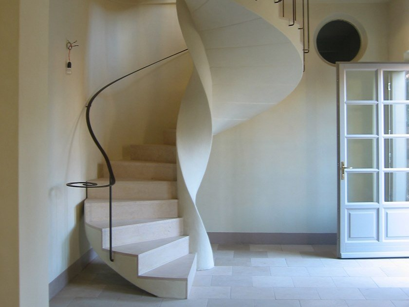Self supporting helical stone Spiral staircase Natural stone Spiral staircase by Naturalmente Puglia