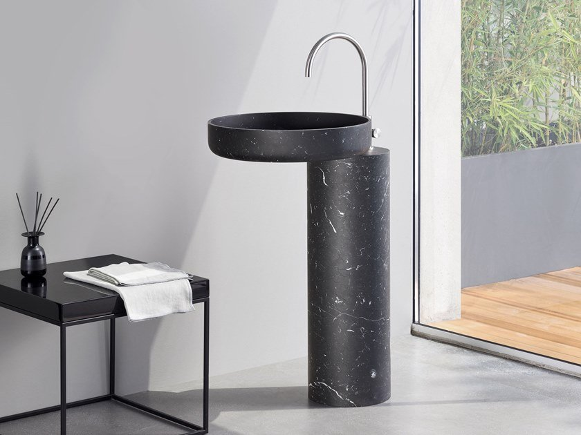 Freestanding round single Nero Marquina marble washbasin O_O by Rexa Design