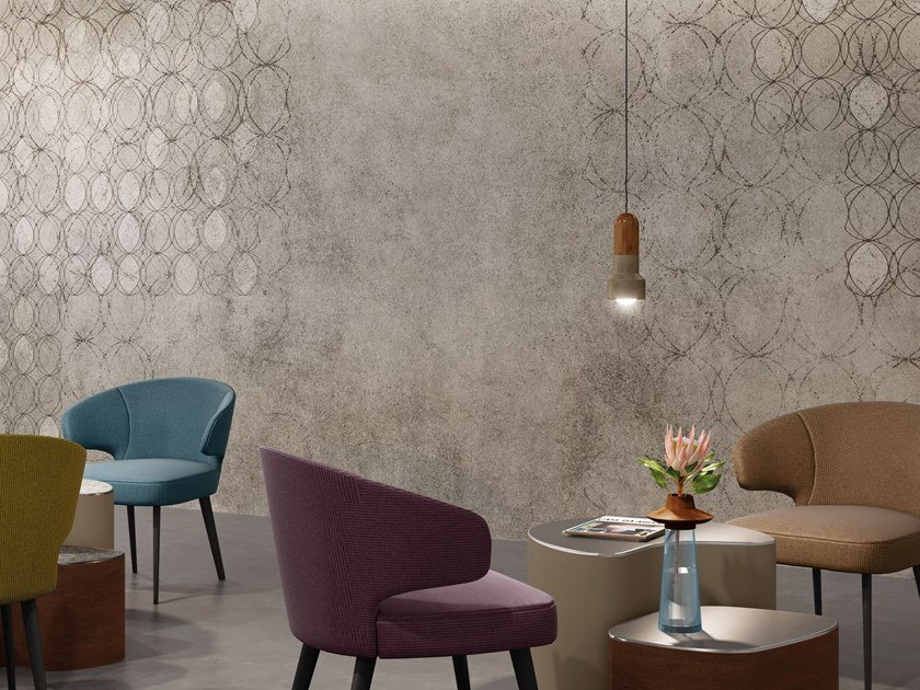 Wall effect geometric Digital printing wallpaper O by Tecnografica Italian Wallcoverings
