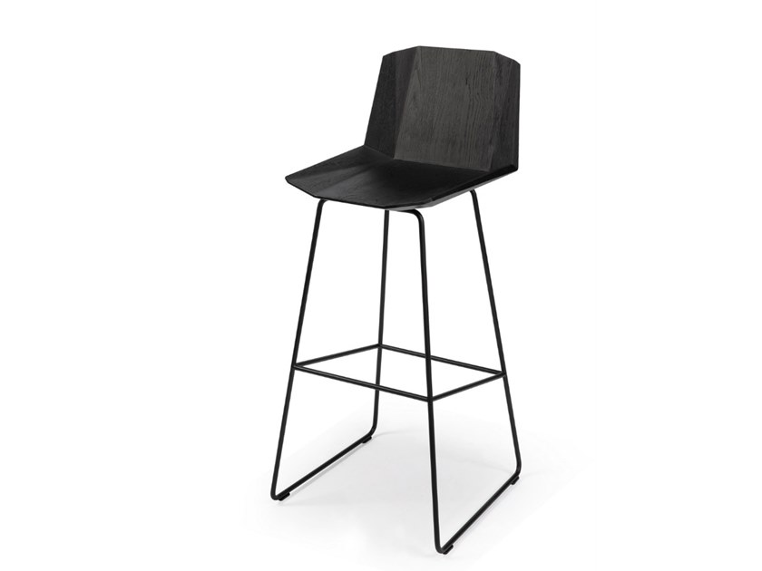 Sled base oak stool with back OAK FACETTE | Stool by Ethnicraft