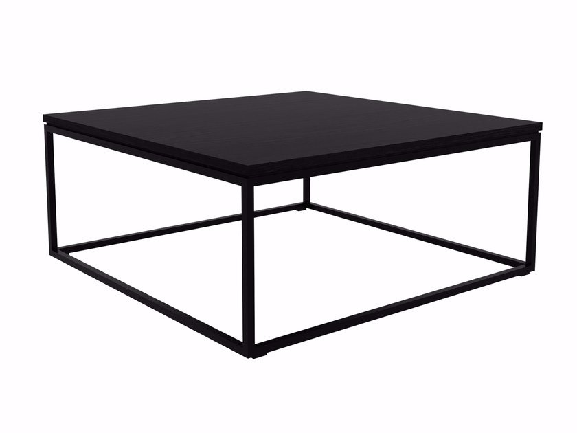 Lacquered Square Stainless Steel And Wood Coffee Table Oak Thin By Ethnicraft
