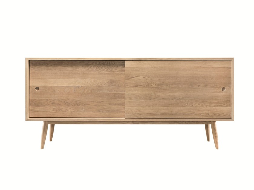 Solid wood sideboard with sliding doors OAK by Wewood