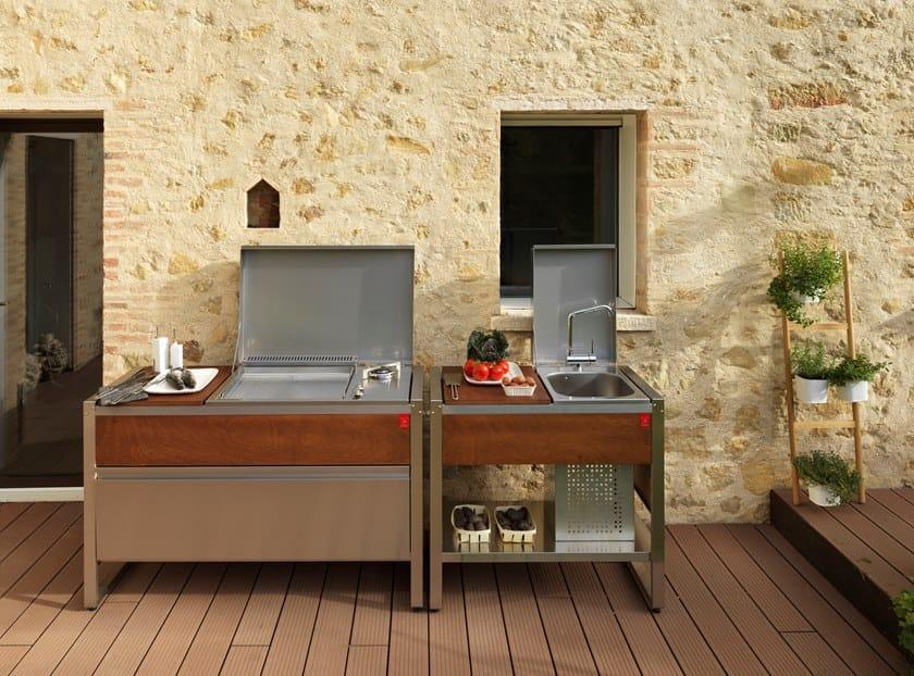 Cucina mobile da esterno con barbecue a gas OASI by PLA.NET Outdoor Cooking