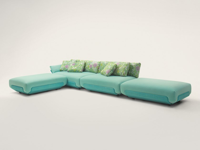Fabric garden sofa with removable cover OASI by paola lenti