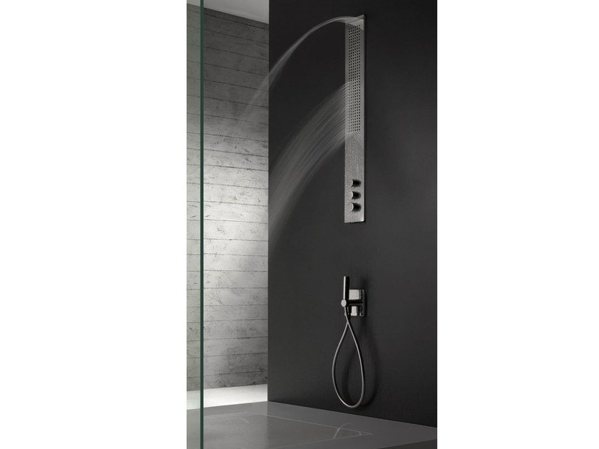 Wall-mounted stainless steel shower panel with overhead shower OBLIQUA   Shower panel with overhead shower by ZAZZERI