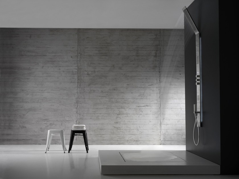 Wall-mounted thermostatic LED stainless steel shower panel OBLIQUA | Shower panel by ZAZZERI