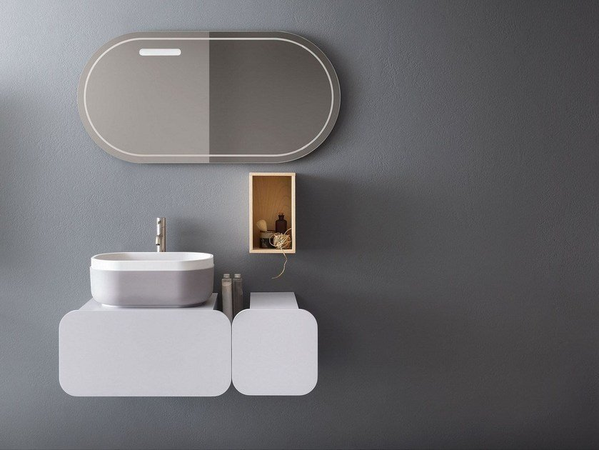 Single wall-mounted vanity unit with mirror OBLON - KEI by NOVELLO