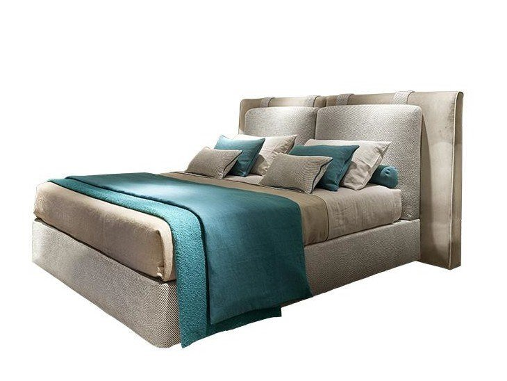 Double bed with upholstered headboard OCEANO by SOFTHOUSE