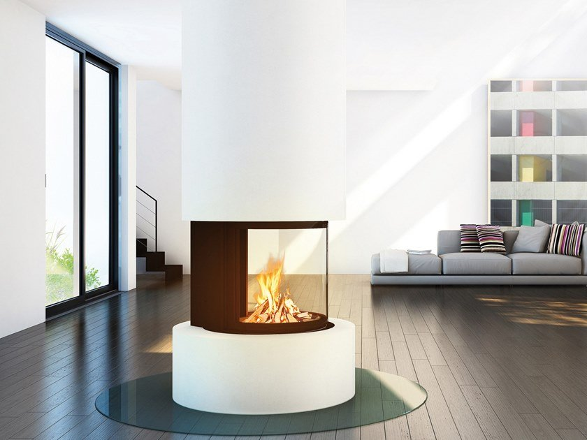 Wood-burning steel fireplace with panoramic glass ODEON by RÜEGG