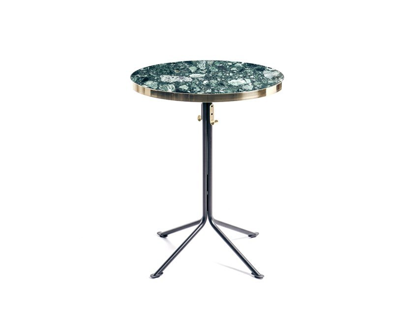 Tavolo in marmo con base a 4 razze ODEON   Tavolo rotondo by Manganèse Éditions