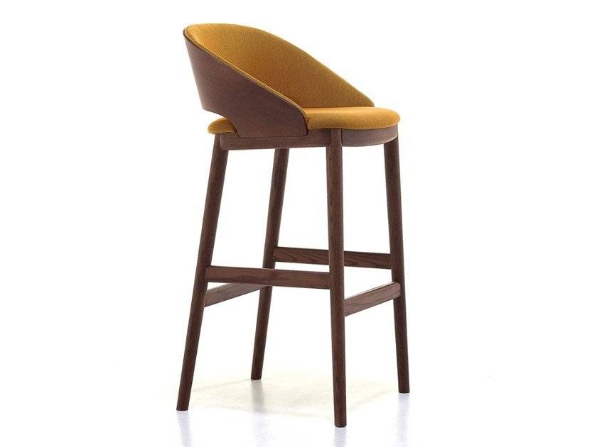 Stool with back with footrest ODEON | Stool by Very Wood
