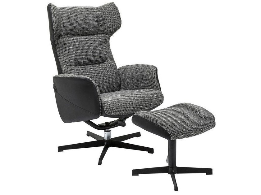 Upholstered fabric armchair with headrest with footstool OHIO SALT AND PEPPER by KARE-DESIGN