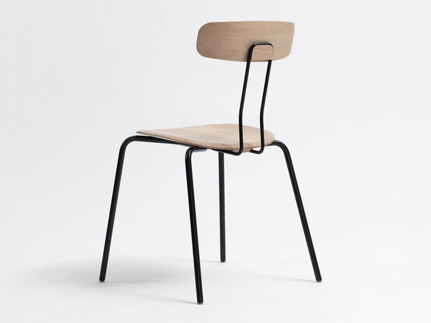 Stackable steel and wood chair OKITO | Chair by ZEITRAUM