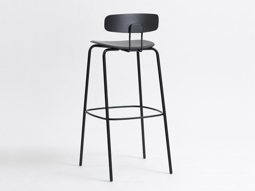 Steel and wood barstool with back with footrest OKITO BAR by ZEITRAUM