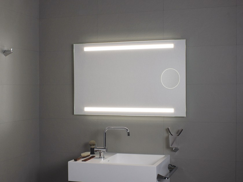 Specchio a parete con illuminazione integrata per bagno okkio by