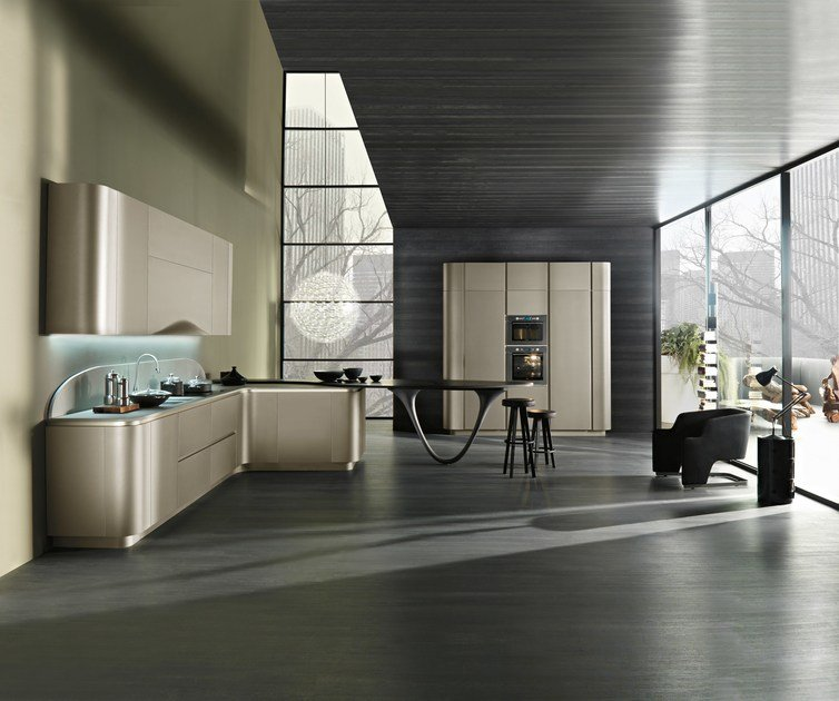 Contemporary style fitted kitchen with integrated handles with peninsula OLA 20 | Kitchen with peninsula by Snaidero