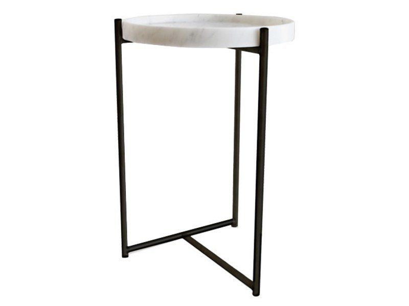 Round Carrara marble high side table OLIVER   High side table by Evie Group