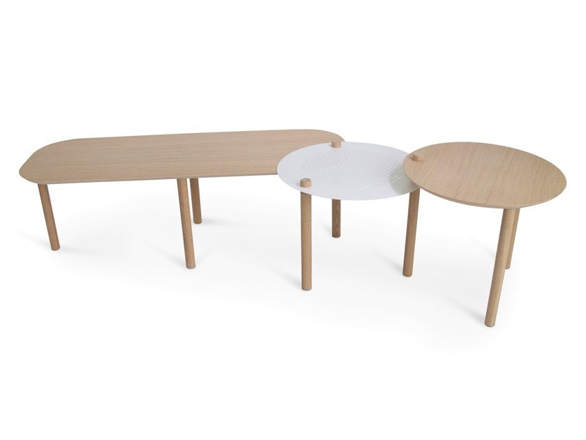 Low adjustable wooden coffee table OLIVIA by Dizy
