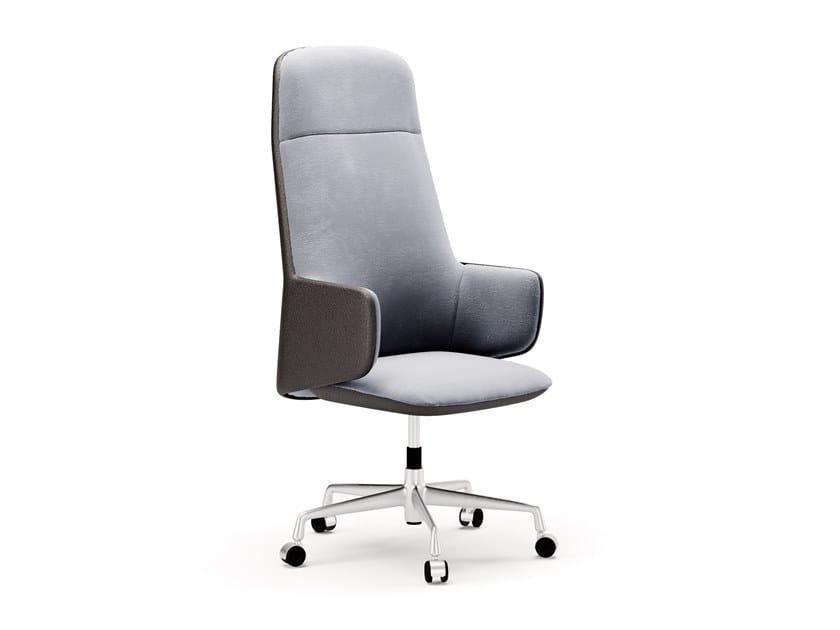 Sedia ufficio in pelle e velluto con braccioli OLIVIA by SM Living Couture